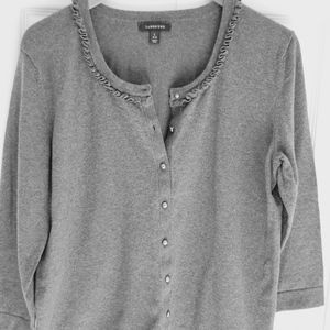 Land's End Cardigan Sweater Gray size Large